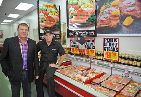 Rangitikei Meat Director Bill Gleeson (l.) and Wayne Gerrand, owner of one of the Mad Butcher stores, at the U.S. pork showcase in Gerrand's Palmerston North store
