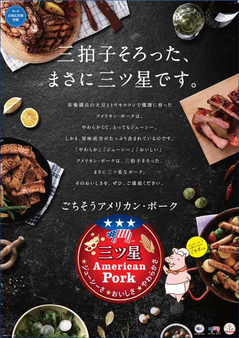 "Advertisement No. 1:  ""We used Gochipo to introduce Mitsuboshi American Pork. Juiciness, deliciousness and tenderness are three important points used by Japanese people to evaluate pork quality. We showed multiple U.S. pork dishes people can enjoy."""