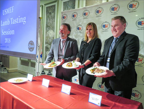 (from left to right) American Lamb Board members Greg Ahart and Elizabeth Dressler and USMEF President and CEO Dan Halstrom display U.S. lamb dishes at a seminar and  tasting event marking U.S. lamb's return to Japan
