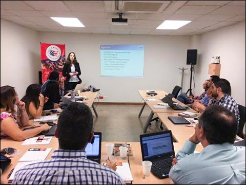 USMEF Trade Analyst Jessica Spreitzer presents a thorough overview of the U.S. pork industry at an educational seminar for Colombian pork processor Alimentos Carnicos