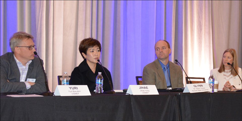 (from left to right) Yuri Barutkin of USMEF-Europe, Jihae Yang of USMEF-Korea and Glynn Tonsor of Kansas State University examine the impact of alternative proteins in panel discussion moderated by USMEF Economist Erin Borror