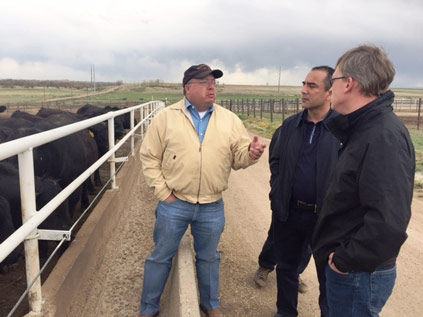 Skylar Houston of Aristocrat Angus Ranch gives the team a tour of the operation near Platteville, Colorado