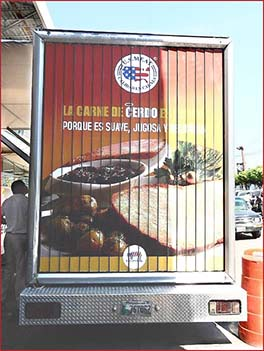 Photograph of a US Beef ad on the back of a truck in Guatemala 2010