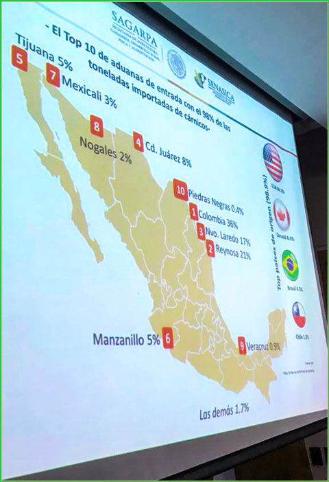 Participants in the border seminar were shown this map of the top 10 border points for meat product entry into Mexico