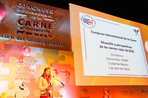 USMEF Economist Erin Borror presents on the global red meat market at the International Meat Congress in Mexico City