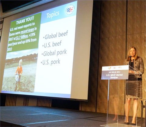 USMEF Economist Erin Borror provided an overview of the global meat market, including insights on production, pricing and trade