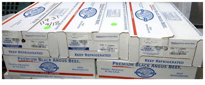 Stack of meat packaging boxes