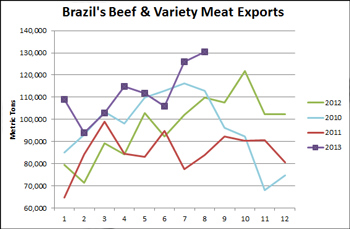 Chart comparing Brazil's Beef & Variety Meat Exports yearly from 2010 through 2013 in Metric Tons
