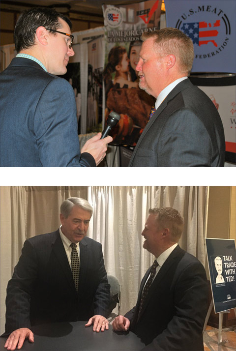 At NAFB Trade Talk, USMEF Chair Cevin Jones (upper photo, right) is interviewed by farm broadcaster Steve Bridge of WFMB Radio in Springfield, Ill., and (lower photo) discusses key trade issues with Ted McKinney, USDA under secretary for trade and foreign agricultural affairs