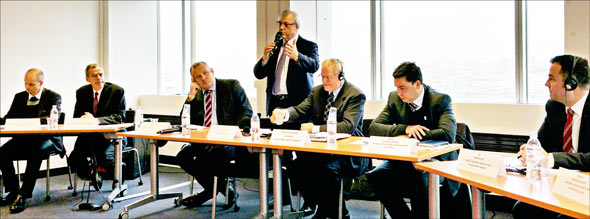 "The ""Livestock is Tackling Climate Change"" panel, left to right, Alexander Döring (FEFAC), John Brook (USMEF), Dave Harrison (Beef + Lamb New Zealand), Guillaume Roué (IMS President), Jurgen Preugschas (IMS Chair Sustainable Meat Committee), Fernando Sampaio (ABIEC, Brazil), James Wilder (AHDB, U.K.)"