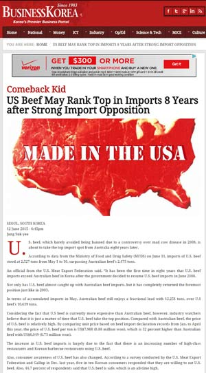 Business Korea article of U.S. Beef