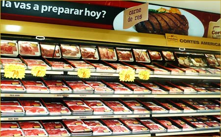 U.S. beef on display at a Calimax supermarket in Mexico