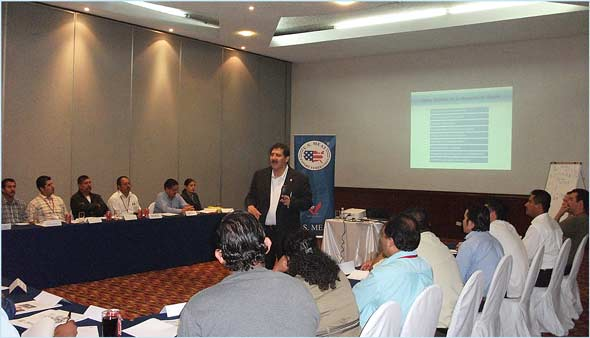 Calimax buyers and department managers participate in a USMEF training seminar