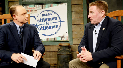 Cattlemen to Cattlemen host Kevin Ochsner (left) interviews Dan Halstrom on a live broadcast from Nashville