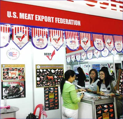 Hotel, restaurant and catering representatives gather information on U.S. beef at World Food Expo in Cebu, Philippines