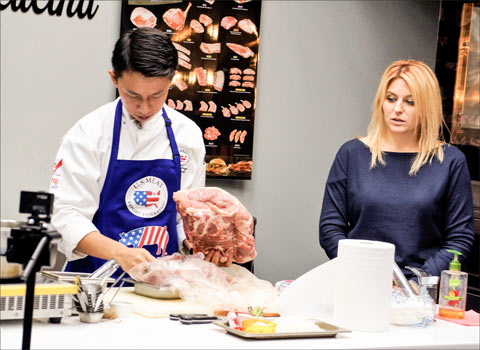 Chef Char took Ukrainian chefs and HRI operators through the steps for cutting and cooking U.S. pork