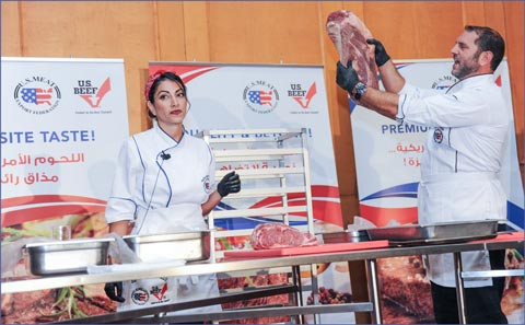 "Chef Lubna Alamat and butcher Ziad Muasher of ""The Butcher and the Chef"" demonstrated the attributes and versatility of U.S. beef"