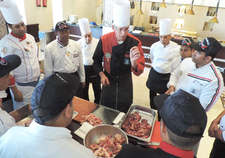 Chef Markus J. Iten demonstrates how to cut U.S. beef
