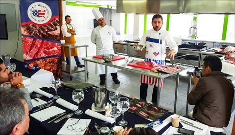 Chef Miguel Angel Hurtado offers advice on cutting and preparing a variety of cuts at a U.S. pork workshop in Colombia
