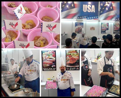Chef Norbert Ehrbar conducted cooking demonstrations with U.S. meat