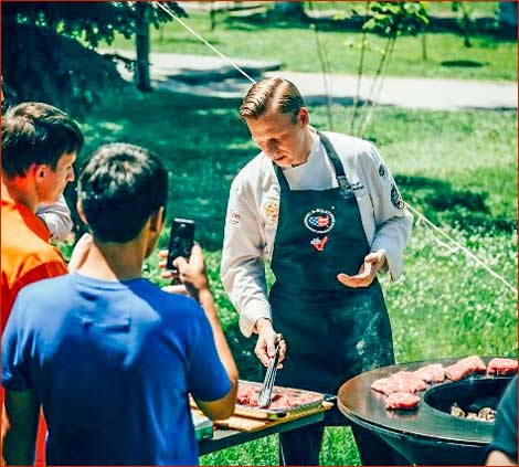 Russian chef Pavel Galkovsky demonstrates grilling techniques for U.S. beef at a USMEF seminar in Chimkent, Kazakhstan