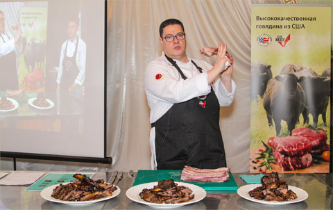 Chef Serge Fery extolls the virtues of alternative U.S. beef cuts at a USMEF Master Class in Uzbekistan