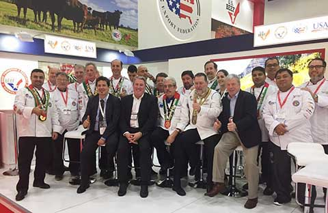 Chefs from the Emirates Culinary Guild visit the USMEF booth