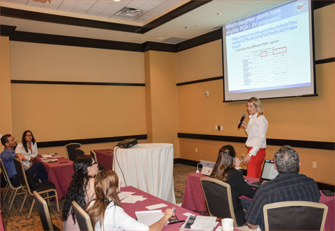 USMEF Technical Services/Access Director Cheyenne McEndaffer explains trichinae mitigation requirements for U.S. pork destined for South American markets