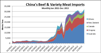 Chart comparing China's Beef & Variety Meat monthly imports from January 2011 through December 2013 in Metric Tons