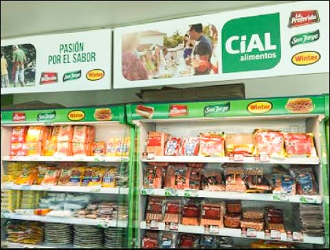 A display of processed pork items at Cial Alimentos, a Chilean company where USMEF conducted an educational seminar on the advantages of U.S. pork