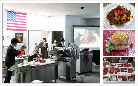 A cutting demonstration featuring U.S. beef was part of a trade seminar hosted by USMEF in Japan