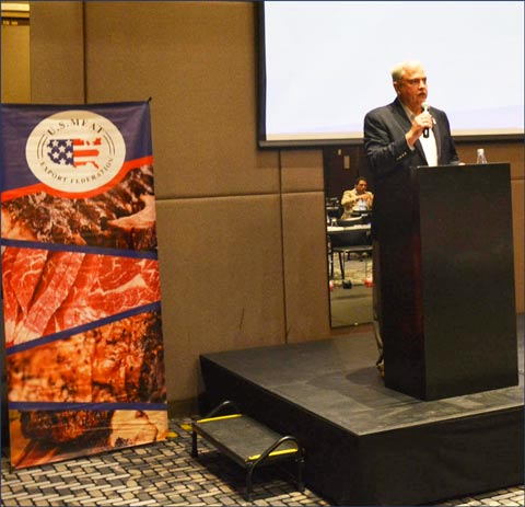 USMEF Chair Conley Nelson addresses Colombian importers at one of two seminars held during the trade mission