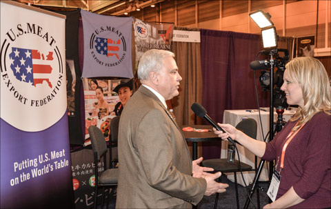 USMEF Chairman Conley Nelson interviewed by Miranda Reiman of Certified Angus Beef® at the Cattle Industry Annual Convention