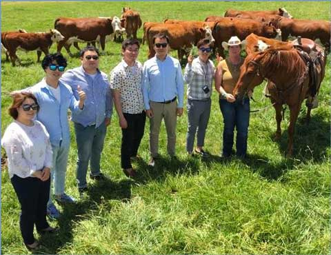 Members of the Korean e-commerce buyer team visit Coyote Ridge Ranch in La Salle, Colorado, on a tour of the U.S. red meat industry