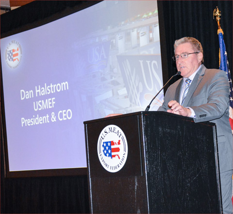 President and CEO Dan Halstrom addresses USMEF members at the organization's Spring Conference and Board of Directors Meeting in Kansas City