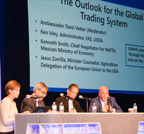 (from left) Darci Vetter, former chief ag negotiator for USTR, moderates a panel on the outlook for the global trading system featuring Jesus Zorrilla, agriculture minister-counsellor at the EU delegation to the U.S., Kenneth Smith, chief NAFTA negotiator for Mexico and Ken Isley, administrator of the USDA Foreign Agricultural Service