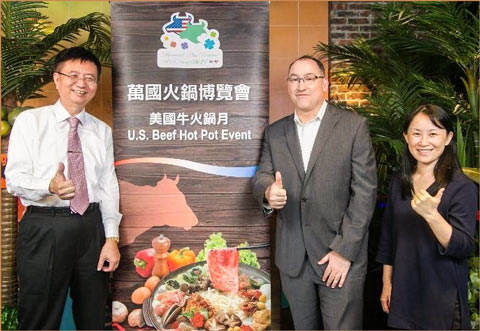 Davis Wu, left, USMEF director in Taiwan, at one of the U.S. Beef Hot Pot media gatherings in Taipei with Chris Frederick (center) and Cleo Fu of the U.S. Agricultural Trade Office in Taiwan