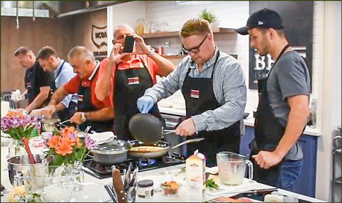 The EU chef team gained hands-on experience with a variety of U.S. beef cuts