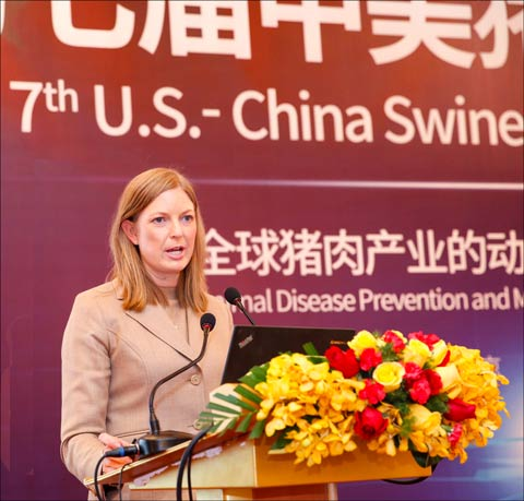 USMEF Economist Erin Borror gives a presentation on the global trade impact of African swine fever
