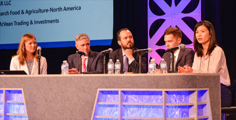 (from left) USMEF Economist Erin Borror moderates a panel on factors driving global meat demand, which included Michael Drury, chief economist for McVean Trading, Pablo Sherwell, head of RaboResearch Food and Agribusiness - North America,  Daniil Khotko, a leading industry analyst for IKAR and Amy Xu, general manager of the import division for China National Cereals, Oils and Foodstuffs Corporation (COFCO)