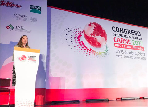 USMEF Economist Erin Borror addresses the International Meat Congress in Mexico City