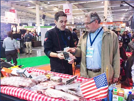 U.S. beef and pork displayed at the Espacio Food and Service Show in Huechuraba, Chile