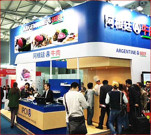 Argentina, Canada and Australia manned prominent beef-centered exhibition booths at Food and Hotel China