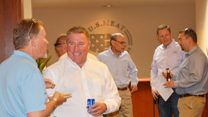(from left to right) John Youngberg, Montana Farm Bureau Federation executive VP, Dan Halstrom and Thad Lively of USMEF, Chad Vorthmann, Colorado Farm Bureau executive VP, and Ryan Yates, congressional relations director for American Farm Bureau Federation, enjoy a reception at USMEF headquarters