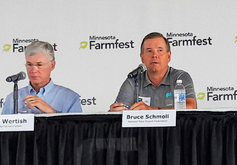 USMEF Chair Bruce Schmoll discusses key trade issues on a National Agricultural Policy Roundtable at Minnesota Farmfest (photo courtesy of Brownfield Network)