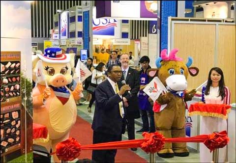 U.S. beef and pork mascots at the U.S. pavilion at Food and Hotel Vietnam