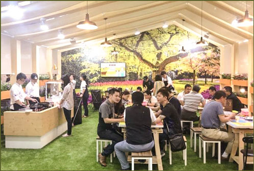 """USMEF's display at the 2018 Food Taipei show was a barnyard setting to match the theme """"Farm to Table"""""""