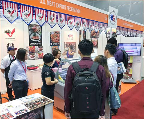USMEF provided educational materials on U.S. pork and pork products at its booth inside the U.S. Pavilion at Food and Hotel Malaysia