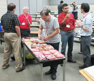 Samples of packaged meat products were put on display to give participants insight into new food trends