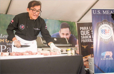 USMEF Corporate Chef German Navarrete demonstrates how to cut and grill U.S. pork during the Barbecue Fest in San Jose, Costa Rica